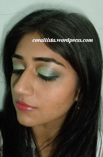 Milky yellow, blue and green eye makeup look